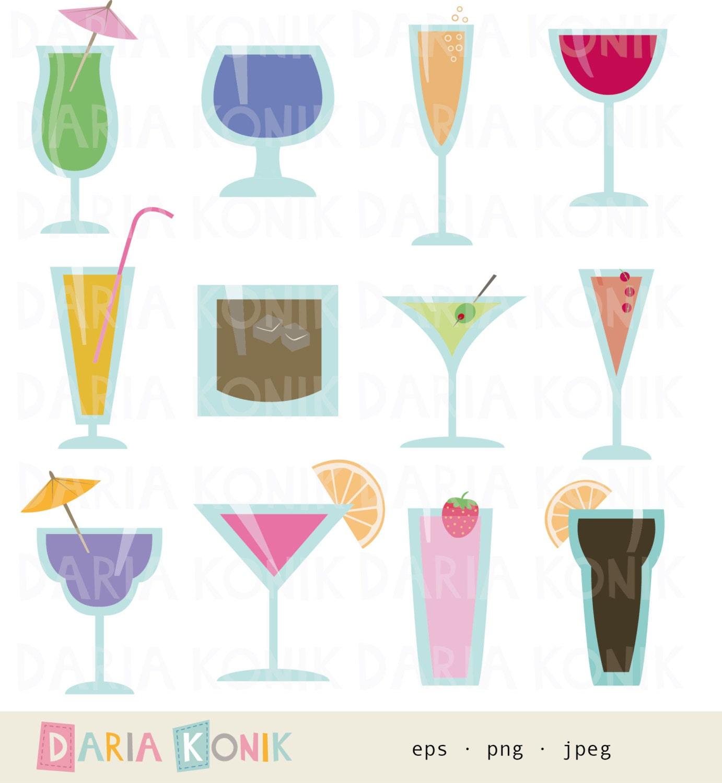 Cocktailgläser Clip Art Set-Getränke Party Clipart Sommer | Etsy
