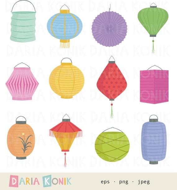 paper lanterns clip art set colorful lampions party clipart etsy