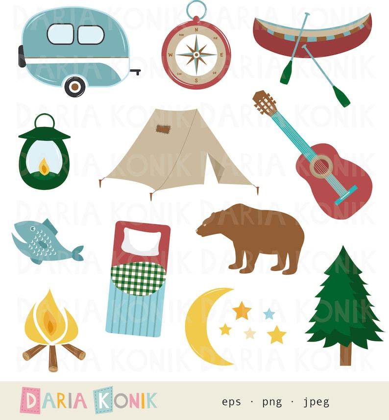 Camping Clip Art Set-caravan png eps camp fire compass guitar tent instant download jpeg