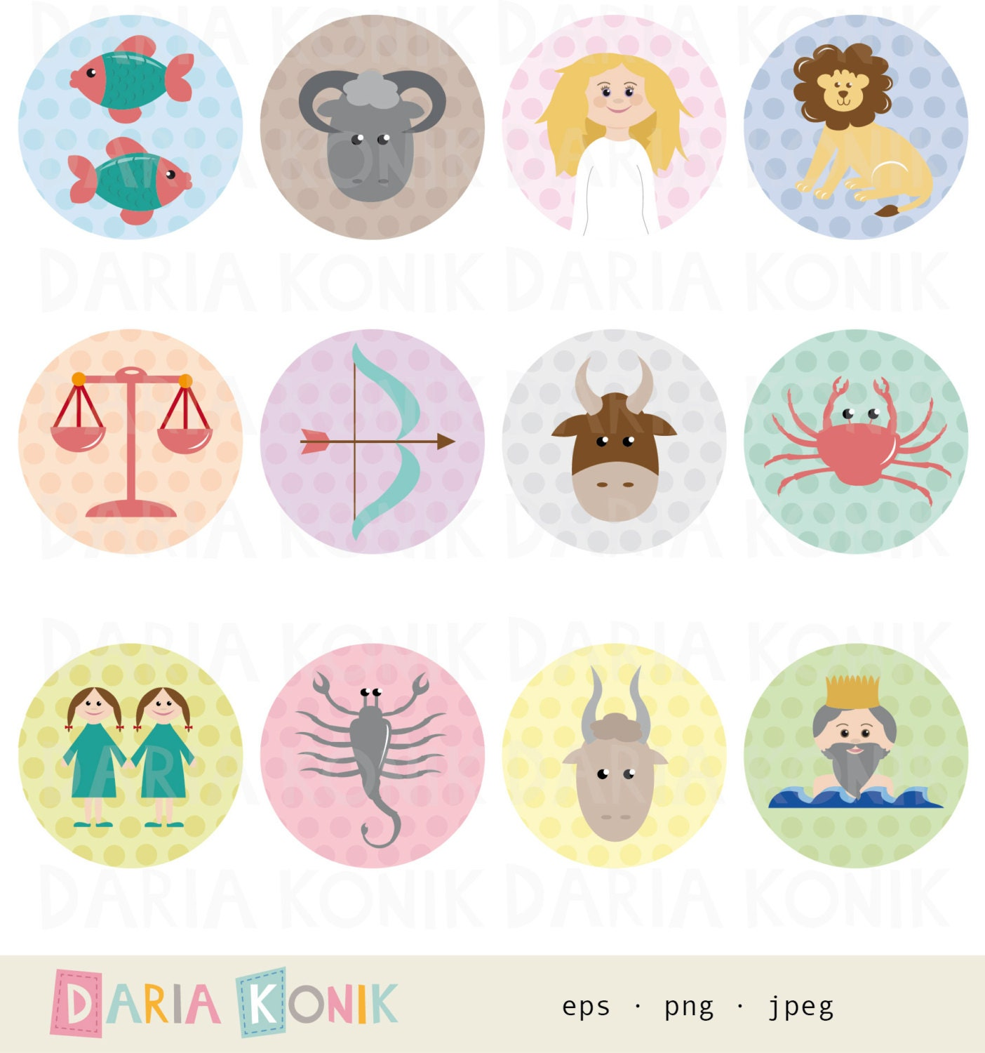 Zodiac Signs Clip Art Set-12 star signs icons astrological | Etsy