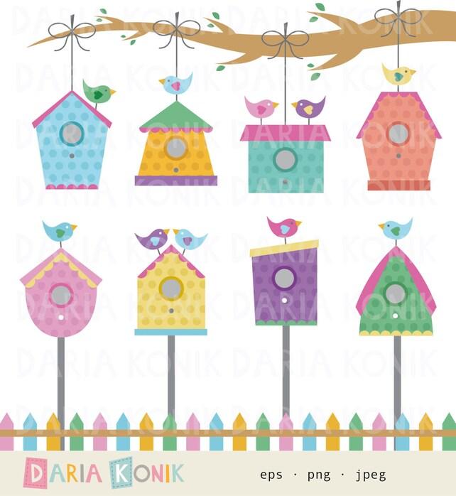 Vogelhaus Clip Art Set-Vogelhäuser Vogel Ast Zaun   Etsy