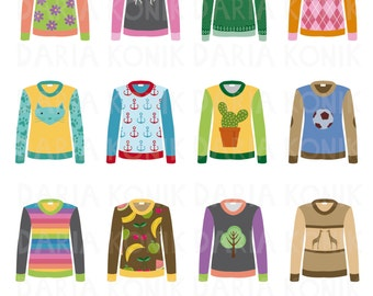 Sweater Clip Art Set-various sweaters, ugly sweaters, 12 images, clothing clip art, eps, png, jpeg, instant download