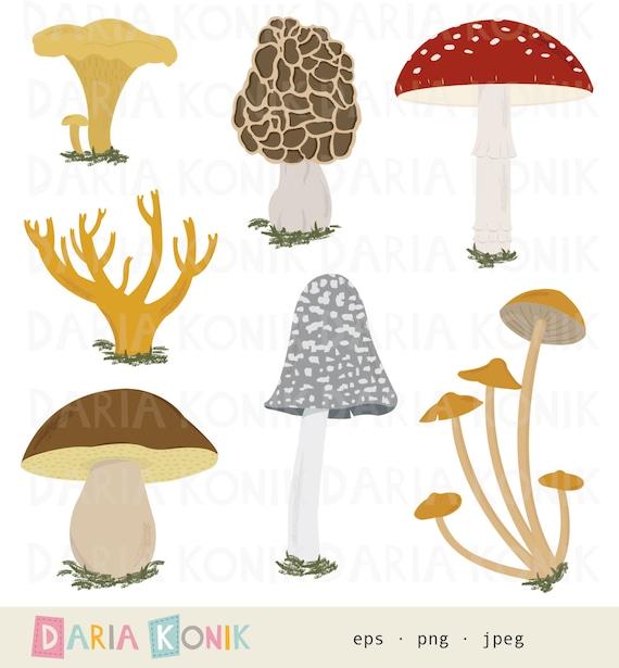 porcino morel png instant download eps Mushrooms Clip Art Set-Fly agaric jpeg magpie inkcap chanterelle coral mushroom
