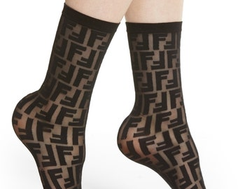 3d555cdc8 FF Fendi Black Designer Inspired Letter Socks - One Size