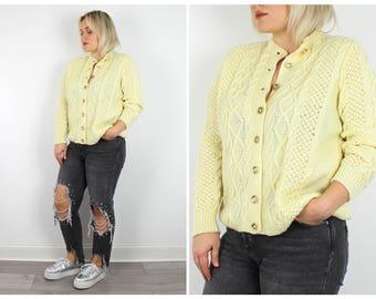 Vintage 1980's Cream Aran Knit Cardigan / UK  12 14 / M Medium L Large / Free Uk Shipping