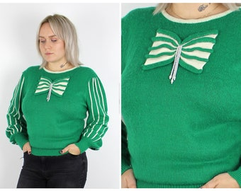 Vintage 1980's Green and White Bow Stripe Jumper 14 16 / M Medium L Large / Free Uk Shipping