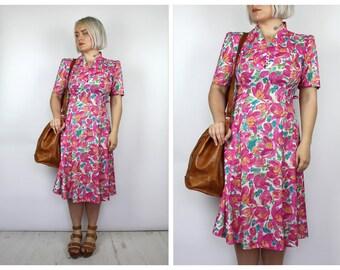 Vintage 1980's Pink Floral Midi Dress 10 12 14
