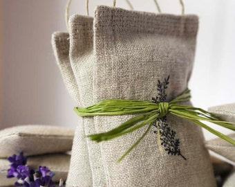 Handmade Natural Linen Lavender Sachet with Handle Stamped with Graphic - Set of 3 Sachets