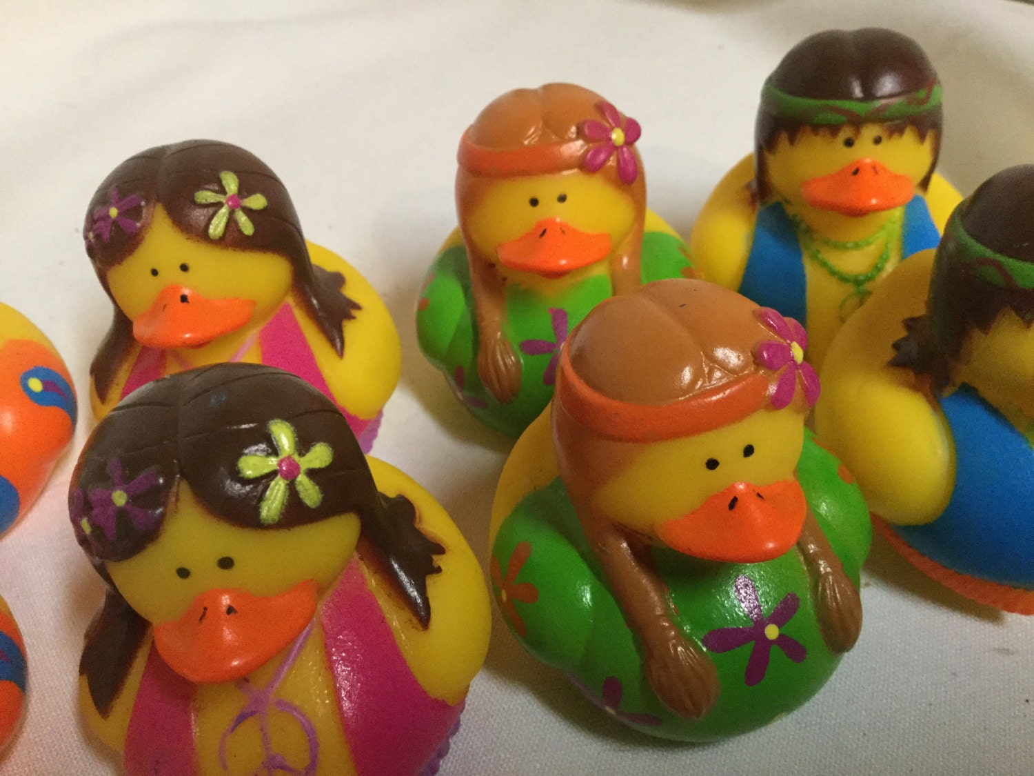 Hippie Rubber Ducks 4 party favors/cupcake toppers party   Etsy