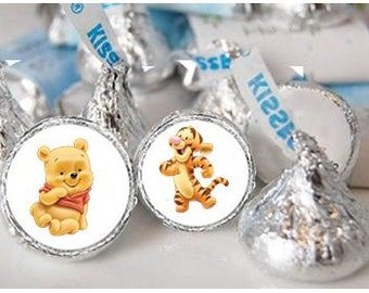Baby Winnie the Pooh Hershey Kiss Stickers Labels Goody Bag Birthday party or Baby Shower Thank You Treats Decorations