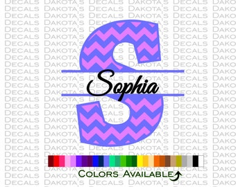 Chevron Initial with Name Multicolor Decal