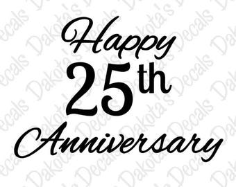 Happy 25th Anniversary SVG/DXF for Download