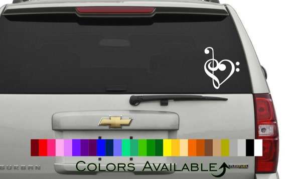 treble and bass clef heart car decal etsy. Black Bedroom Furniture Sets. Home Design Ideas
