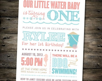First Birthday Part Invitation: Beach Theme/Pool Party- You Print