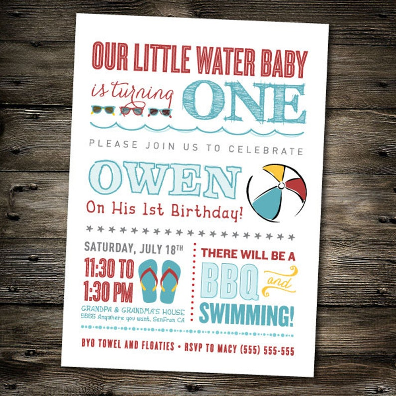 First Birthday Party Invitation Pool Beach Theme You