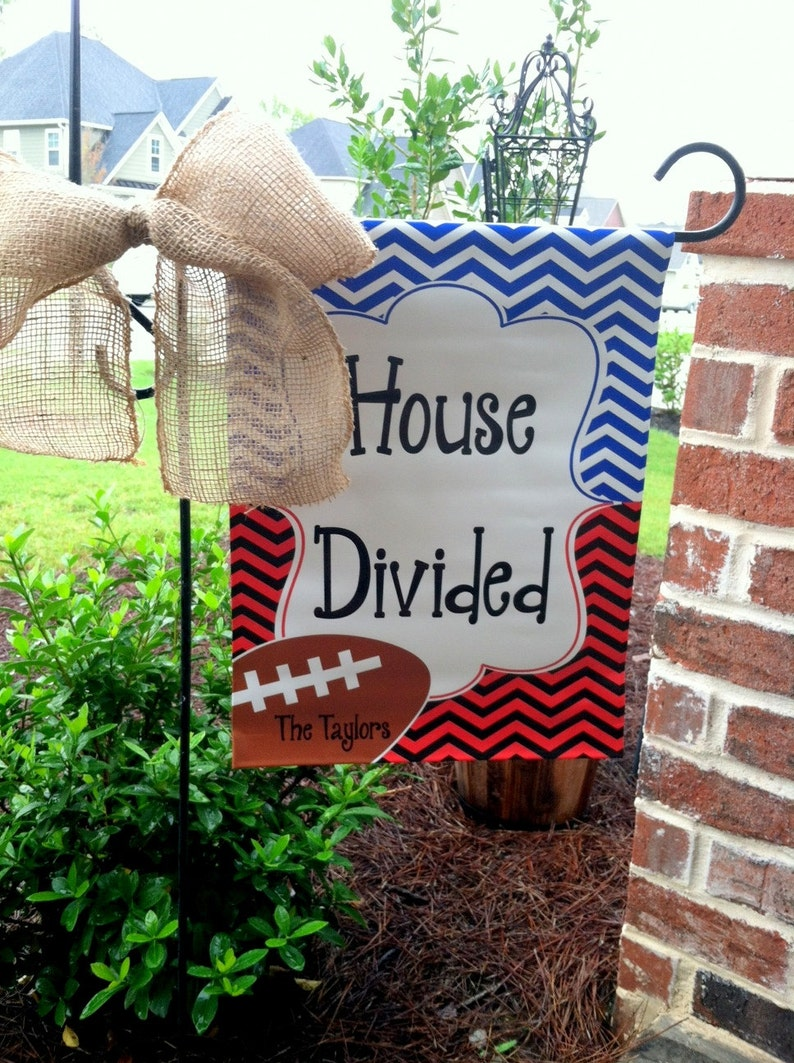 Custom Personalized Yard Sign House Divided Chevron You Pick Team