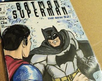 Batman Superman #1 Sketch Cover featuring artwork of Ben Affleck & Henry Cavill by Mark Wright