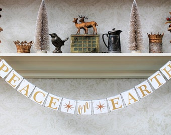 Christmas Decorations, PEACE on EARTH Banners, CHRISTMAS SlGNS, Rustic Christmas Decor