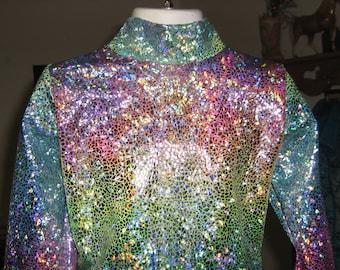 girls- Turquoise shine western rail horsemanship shirt leadline xs S M L xl