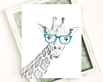 Printable Giraffe with Glasses Art Print, Black and White Giraffe Printable, Giraffe Nursery Wall Decor, Teal, 8x10 Digital Print