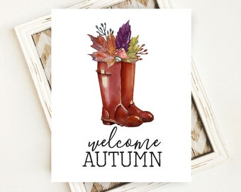 Fall Download, Fall Digital Art, Welcome Autumn Wall Decor, Autumn Digital Art, Welcome Autumn PRINTABLE Art, 8x10 Digital Download