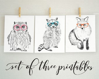 Forest Animal Nursery Art, Forest Nursery Art Print, Forest Animal Art Set, Black and White Animal Printables, Raccoon, Owl, Fox, 8x10
