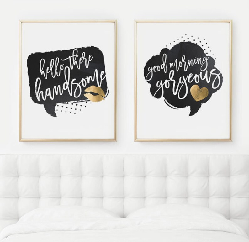 Hello There Handsome Good Morning Gorgeous Husband and Wife Prints, Set of  Two Bedroom Decor Posters, PRINTABLE Art, 8x10 Digital Download