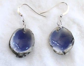 Indigo Porcelain Shell Earrings, Handmade Earrings