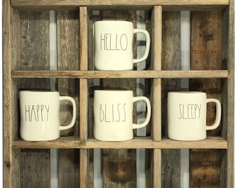 Oversize Coffee Mugs Storage   28 Custom Sizes   Storage To Fit Large  Starbucks Mugs And Rae Dunn Mug Collections   Reclaimed Wood