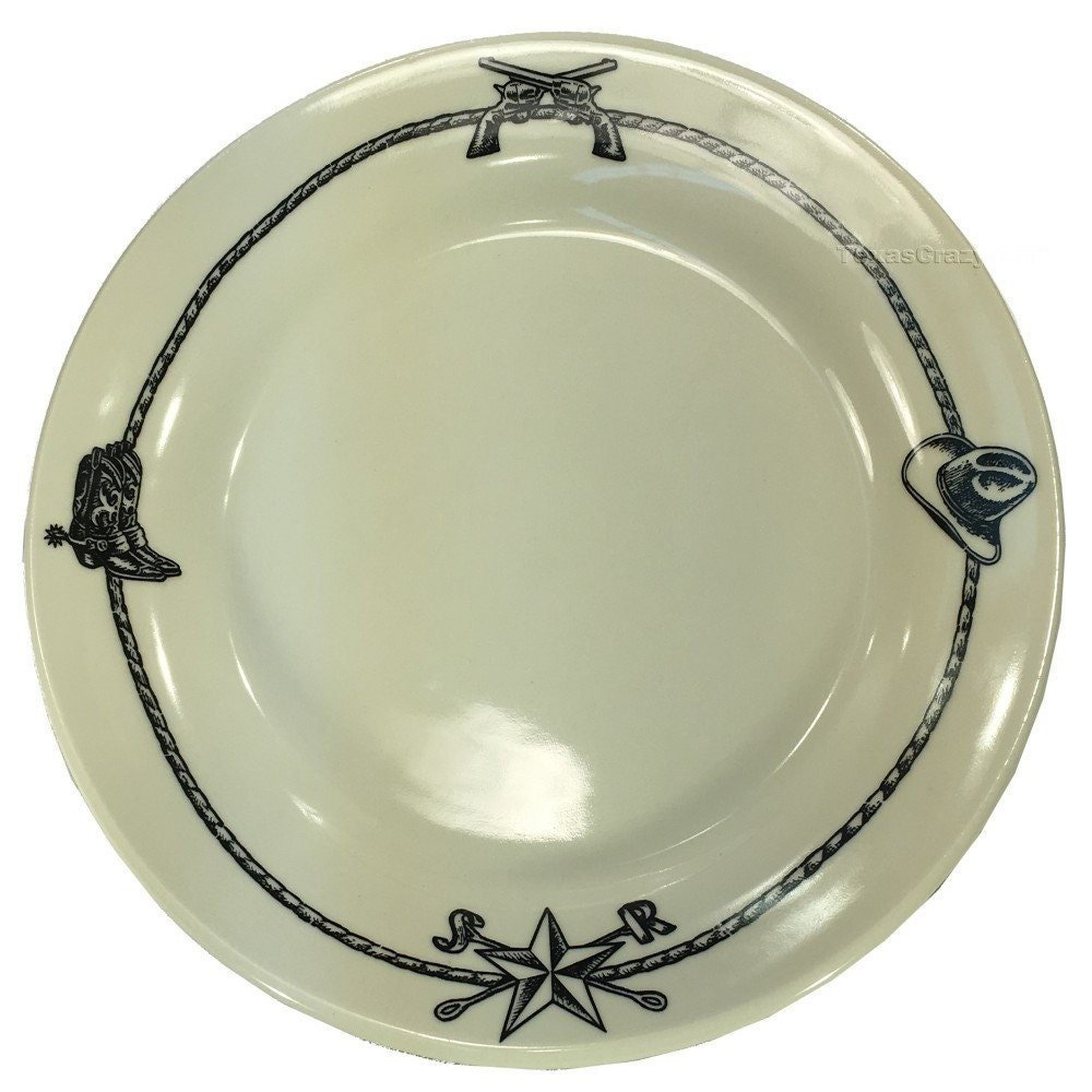 Sky Ranch Dinner Plate set of 4 with Western Cowboy Accents in Black - Casual Dinnerware