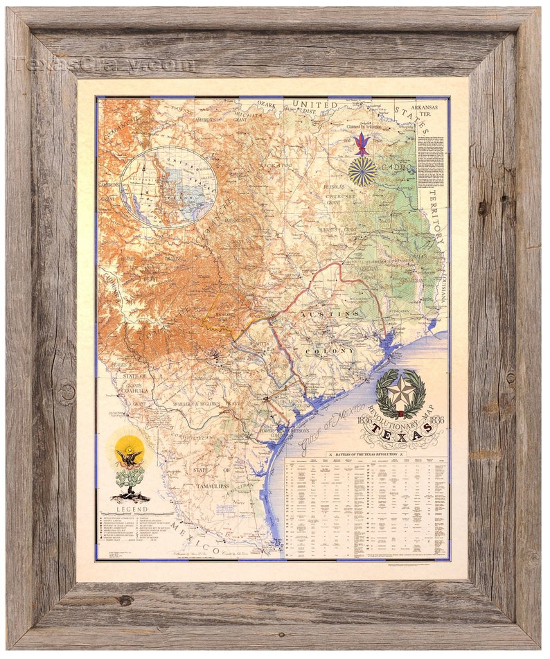 Map Of Texas In 1836.1836 Map Of Texas Revolution Large Framed In Natural Reclaimed Wood Texas Home Decor Art