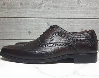 3ed732a666bf0 Mens brown leather shoes, oxford brogue lace up leather shoes, custom hand  made patina shoes, men all sizes 9, wedding formal office shoes