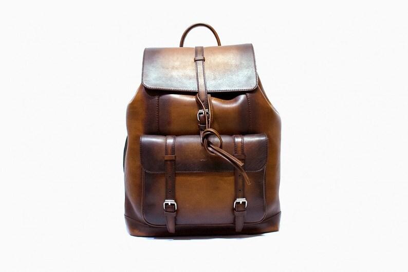 dd0636af50 Leather Backpack Men Sports Bag Brown Berluti Patina Travel