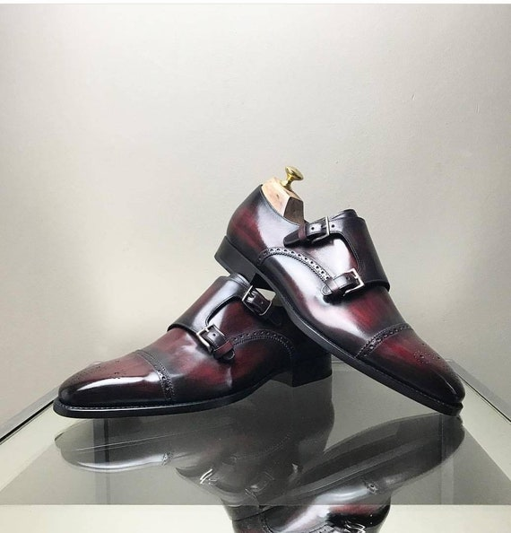 Men double monk shoes berluti style oxblood patina whole cut brogue leather good year welt custom shoes loafers derby chukka oxford boots