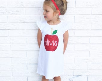 "Girls ""Glam Apple"" back to school glitter applique flutter sleeve dress by sweet sprouts"