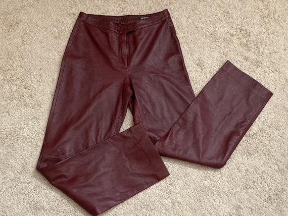 Vintage Red Leather Pants Maroon Pants Burgundy Pa