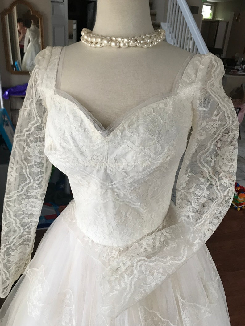 Vintage Couture 1950s Wedding Dress Lace and Tulle wedding gown Fit and Flare Gown Long Sleeve Romantic Wedding Gown Dress by William Cahill