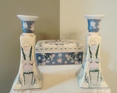 Porcelain Cigarette Box Candle Holder Set