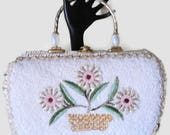 Vintage White Straw Handbag Glass Seed Beads And Beaded Flowers