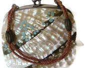 Antique Mother Of Pearl Shell Hand Painted Coin Purse