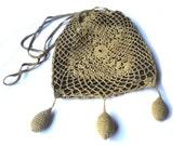 Antique Lace Tassel Pouch Purse Hand Crochet