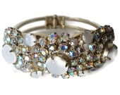 Vintage Juliana D & E Verified Aurora Borealis Rhinestone And Moonglow Clamper Bracelet