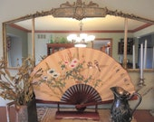 Extra Large Decorative Hand Painted Chinese Fan With Wood Stand