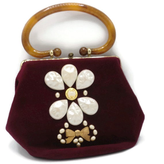Morris Moskowitz M M Mad Hatter Embellished Red Wool Handbag  5f8ff0ba6abb6