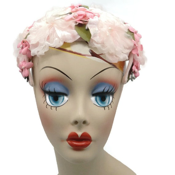 1950's Pink Half Hat With Silk Millinery Flowers J