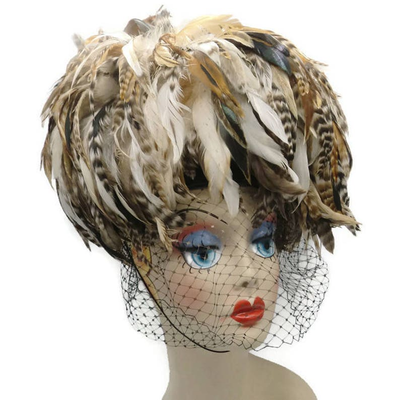 79bfd90bf Whittall & Shon Pheasant Feather Veiled Pillbox Hat Haute Couture Runway  Fabulous