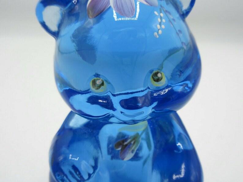 Fenton Misty Blue Glass Floral Seated Bear Figurine