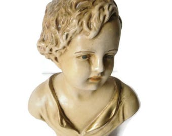 French Antique Victorian Young Boy Chalkware Plaster Bust