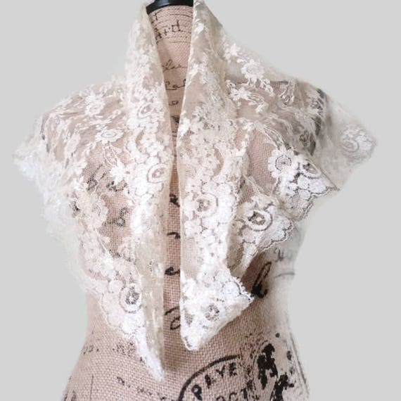 Victorian Ivory Floral french Lace Shawl