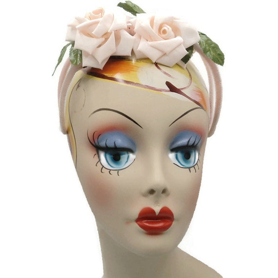1950's Pink Silk Rose Headband Hat